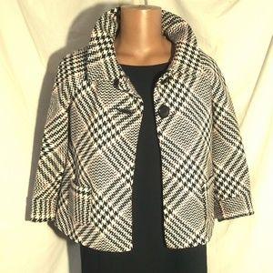 Alison Taylor B/W/R Houndstooth Jacket Sz 10 EUC